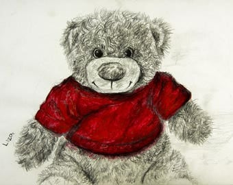 Red Shirt Teddy Bear Original Watercolor Painting High Quality Giclée Print canvas , home decor office nursery art Handmade gift decoration