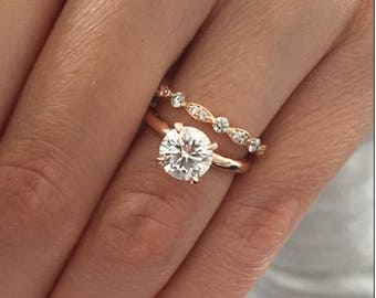 1.22ct Round Solitaire Eveline Rose Gold Band with Art Deco Eveline Diamond Wedding Band, matching band