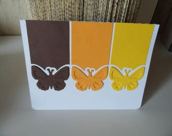 birthday or holiday card or friendship, three colors butterflies card