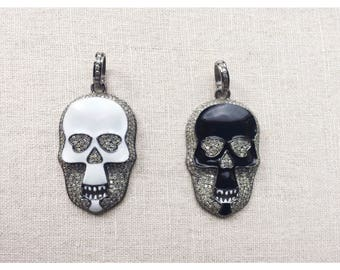 Enamel skull with diamond pave