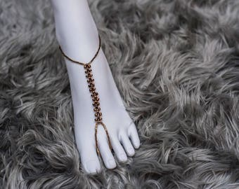 Copper metallic anklet/ barefoot sandals