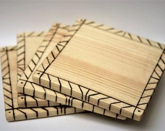 Set of Coasters, Rustic Coasters, Wood Burned Coasters, Minimalist Wood Coasters, Wooden Coasters, Coffee Coasters, Geometric Coasters