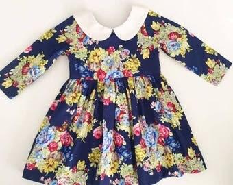 Floral Long Sleeve Dress, Winter Dress, Girls Winter Dress