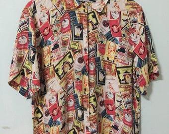 Vintage 70s 80s full print cigarette shirt