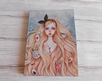 Alice in Wonderland, notepad, notebook, block notebook, diary notebook