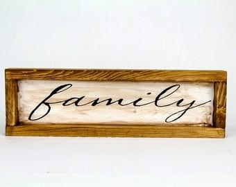 """16 1/2""""x5"""" framed family sign"""