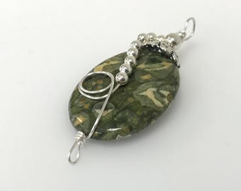 Large Oval Olive Rhyolite Stone Sterling Silver Wrapped Pendant