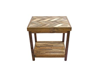 Reclaimed Wood End Table from Recycled Wyoming Snow Fence - Herringbone Pattern