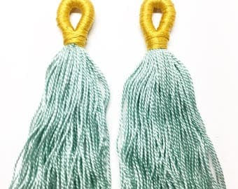 Yellow and Seafoam Loop Tassels