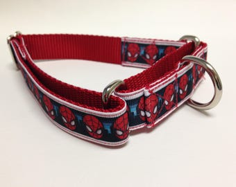 Martingale Dog Collar, Large Red Martingale Collar, Large Spiderman Martingale Dog Collar, Large Adjustable Dog Collar