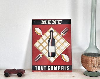 French vintage enamel. Old restaurant and pub advertising