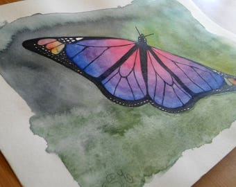 Colorful butterfly original unique watercolor painting