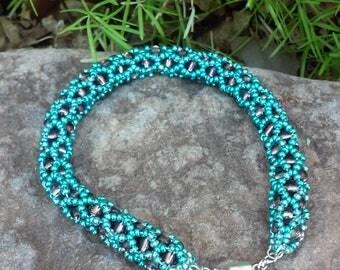 Teal & Brown Woven Beaded Bracelet