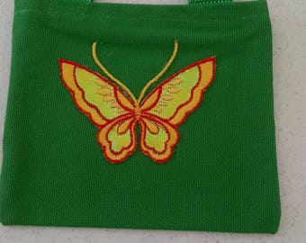 Little green tote bag with butterfly