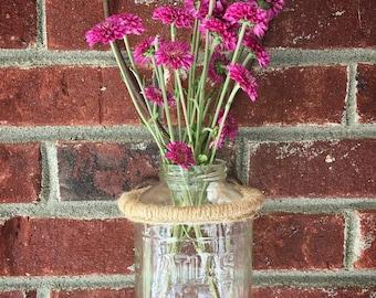 Rustic Mason Jar Flower Vase Ironwork