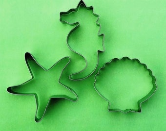 Seahorse Shell Starfish Cookie Cutter Ocean creature Fondant Biscuit Pastry Stainless Steel Baking Mold Set