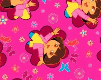 Fabric Dora the Explorer purple butterfly running BTHY 1/2 By The Half Yard FQ Fat Quarter