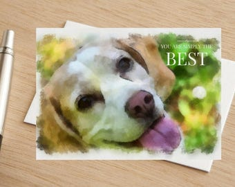 """Dog Watercolour Beagle Greetings Card """"You are Simply The Best'"""