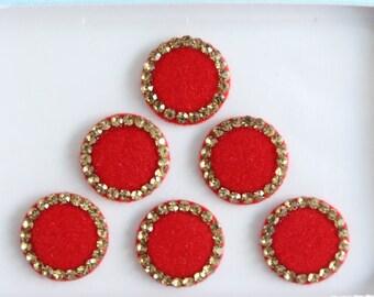 Bridal Red Round Bindis ,Round Bindis,Velvet Red Bindis,Wedding Round Red Face Jewels Bindis,Bollywood Bindis,Self Adhesive Stickers Pack