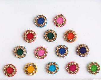 13 Bollywood Wedding Round Bindis Design,Velvet Multicolor Bindis,Colorful Face Bindis,Bollywood Bindis,Self Adhesive Stickers