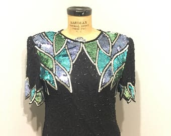 Laurence Kazar beaded blouse