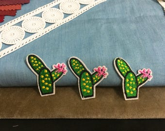Cute flowering cactus patch ,embroidered patch ,iron on patch ,denims patch ,hat patch, DIY