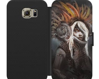 Tribal Steampunk flip wallet phone case for iphone 4 5 6 7, Samsung s2 s3 s4 s5 s6 s7 plus more