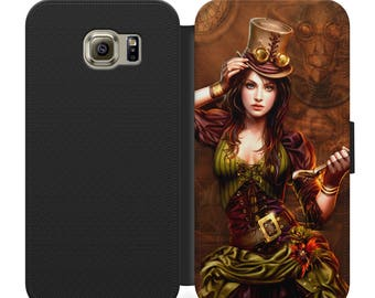 Steampunk girl flip wallet phone case for iphone 4 5 6 7, Samsung s2 s3 s4 s5 s6 s7 S8 S8 plus and more
