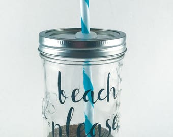 Mason Jar Tumbler // BEACH PLEASE // Tumbler // Glitter Mason Jar Tumbler // Dishwasher Safe // Gift for her // Beach // Weekend