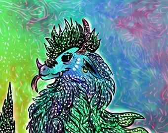 Fine Art Digital Illustration Print of Dragon