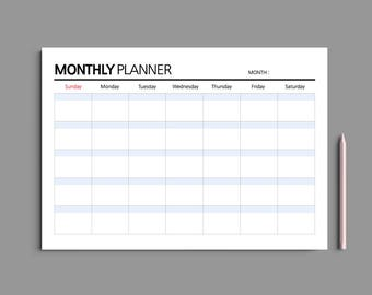 5 Color Printable Monthly Planner A4 / Monthly Planner Printable / Monthly Calendar / Desk planner / Undated / #202