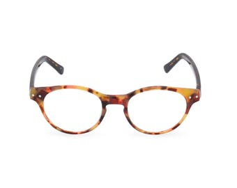 Classic 1940s style HANDMADE spectacles 'MILLER' in Amber Tortoise for men & women. Unique double layer Italian acetate.Rx Frame or readers