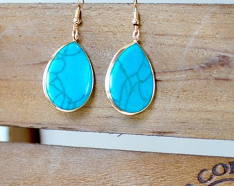 18K Gold Plated Turquoise Earrings
