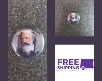 """1"""" Brahms Portrait Button Pin or Magnet, FREE SHIPPING & Coupon Codes"""