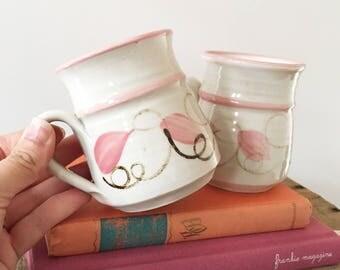 Pair Vintage handmade glazed pottery mugs - ceramic teacup - boho bohemian style decor home Australia - cup tea coffee pink - Ettamogah #537