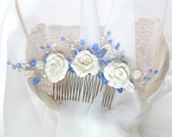 Flower Hair Comb Floral Hair Accessories Bridal Hair Piece Floral Hairpiece Wedding Headpiece Bridal Hair Comb Beaded Hair Comb Hair Jewelry