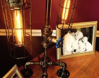 Table Lamp with Faucet Light Dimmer.