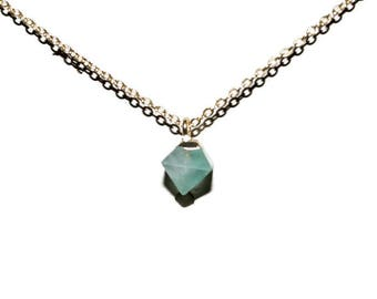 Green Fluorite Electroplated Gold Necklace