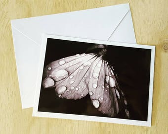 6 x 4 inches Handmade Card and envelope Photo Greeting art Cards flower anniversary occasion blank black and white floral
