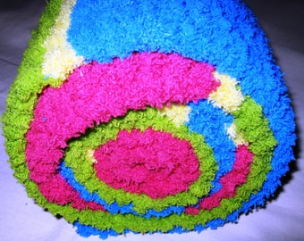 Crocheted Super Soft Bulky Fleece/Chenille Scarf in Hot Pink, Turquoise, Lime Green and Yellow