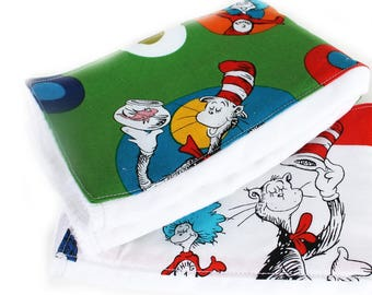 Dr Seuss Burp Cloths / Cotton Burp Cloth / Diaper Burp Cloth / Green Burp Cloth / Baby Shower Gift / Cat in the Hat / Free Shipping US