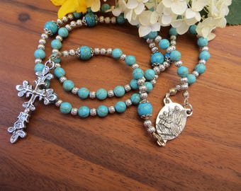 Turquoise Chrystal Gemstone Guardian Angel Rosary