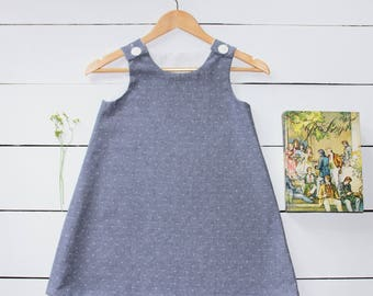 "Denim-colored ""Come Sail Away"" Girls A-Line Dress"