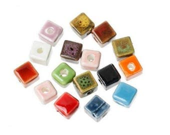 Multi color square ceramic bead