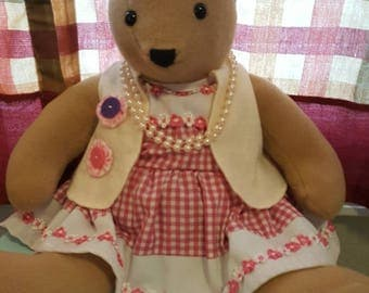 "Handmade, dressed, 18"" Teddy Bear ""Maisie"""