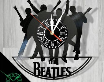 Beatles vinyl record wall clock with luminescent clock face (glows at night) best eco-friendly gift for any occasion