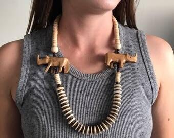 Vintage African beaded Necklace | Rhinoceros | Cow Bone | Vintage Jewelry | Bohemian Jewelry | Boho Fashion