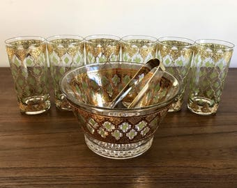 Set of 6 RARE Vintage Mid Century Culver Glasses with 'Valencia' Ice Bucket with Tongs | 22 kt. Gold