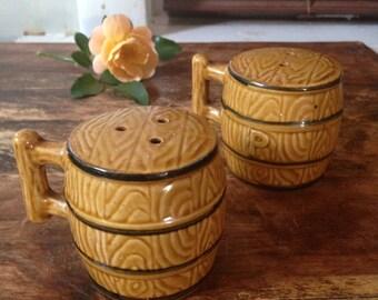 Vintage Ceramic Barrel Salt & Pepper Shakers