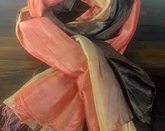 Large Vintage Silk Scarf Vibrant Colors
